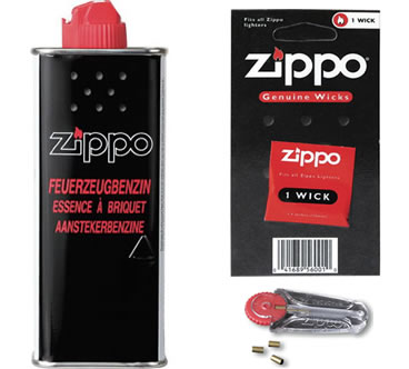 Zippo Support Paket (Benzin, Feuersteine und Reservedocht)
